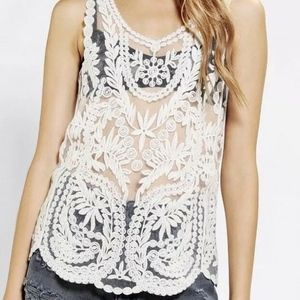 PINS & NEEDLES Urban Outfitter cream lace top tank